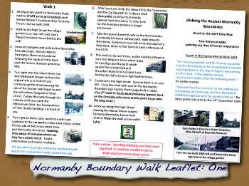 2018 Normanby Boundary Walk Leaflet:  Walk One - - Click On This for Larger Image (Opens in New Window)