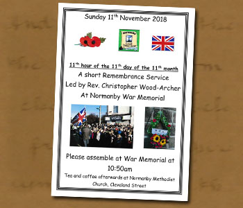 2018 Remembrance Service Poster - Click On This for Larger Image  			(Opens in New Window)