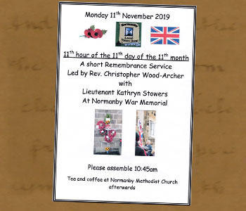 2019 Remembrance Service Poster - Click On This for Larger Image  			(Opens in New Window)