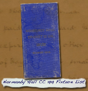 Normanby Hall CC 1919 Fixture List Cover