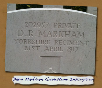 David Robinson Markham: Gravestone Inscription
