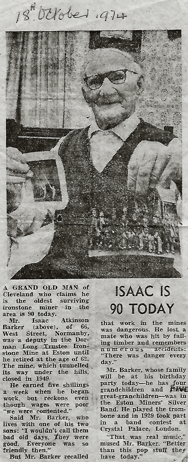 Isaac Atkinson Barker Newspaper Article - Click On This for Larger Image (Opens in New Window)