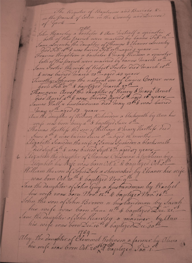St Helens Parish Registers 1788 First Page